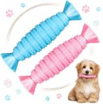 2 Pieces Dog Toys Dog Chew Toys Pet Teething Toys Interactive Pet Toys Candy Shaped Puppy Chew Sticks for Small and Medium Dog Cat (Blue, Pink)