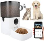 Fortunate Monet 6L Sensible Automated Pet Cat Canine Feeder 8-Meal Auto Pet Kitty Meals Dispenser, 1080P HD Digicam for Voice Video Recording, Timer Programmable, WiFi Enabled App Management for iPhone Android