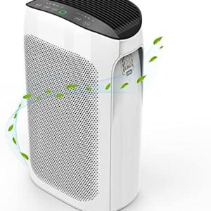 Air Purifier for Home Large Room up to 495 ft² , H11 Smart True HEPA Air Purifier for Allergies and Pets, Remove 99.97% Hairs, Dust, Pollen, Smoke and Odor Eliminator (White)