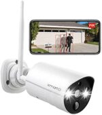 XMARTO 2K HD Wi-fi Safety Digital camera Out of doors AC Powered with Shade Night time Imaginative and prescient, PIR Human/ pet Detection, Dwelling Safety Sensible Flood Gentle, Cloud and SD Card Storage, Siren and 2-Means Audio